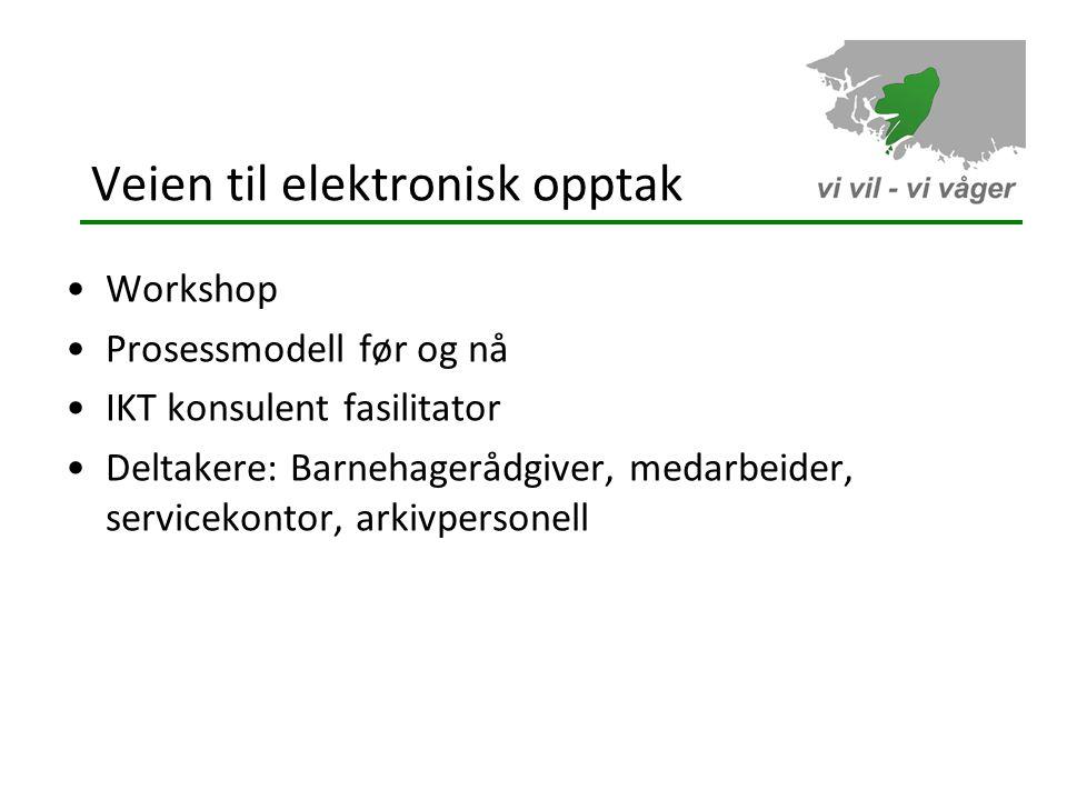 Veien til elektronisk opptak •Workshop •Prosessmodell før og nå •IKT konsulent fasilitator •Deltakere: Barnehagerådgiver, medarbeider, servicekontor, arkivpersonell