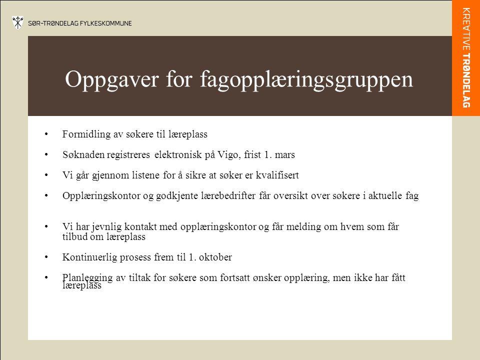 Oppgaver for fagopplæringsgruppen •Formidling av søkere til læreplass •Søknaden registreres elektronisk på Vigo, frist 1. mars •Vi går gjennom listene