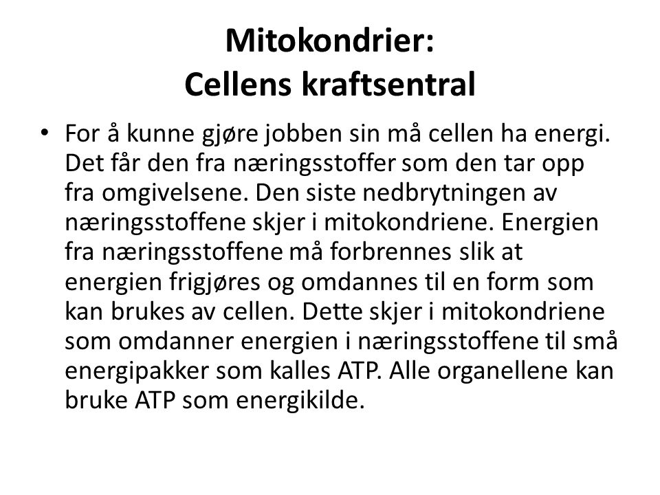 Mitokondrier: Cellens kraftsentral • For å kunne gjøre jobben sin må cellen ha energi. Det får den fra næringsstoffer som den tar opp fra omgivelsene.