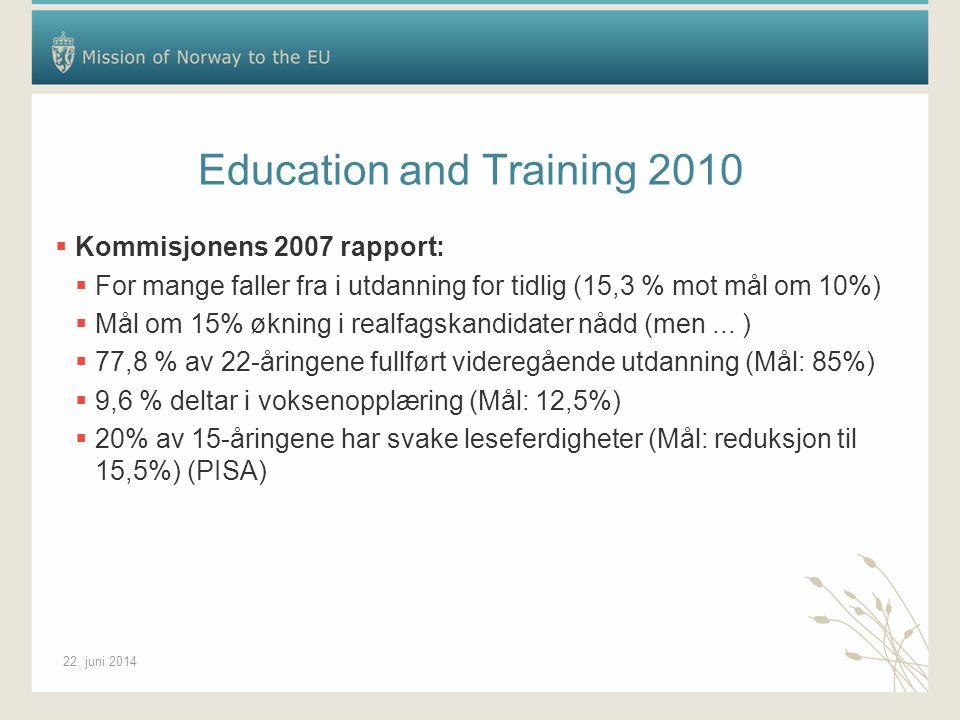 22. juni 2014 Education and Training 2010  Kommisjonens 2007 rapport:  For mange faller fra i utdanning for tidlig (15,3 % mot mål om 10%)  Mål om
