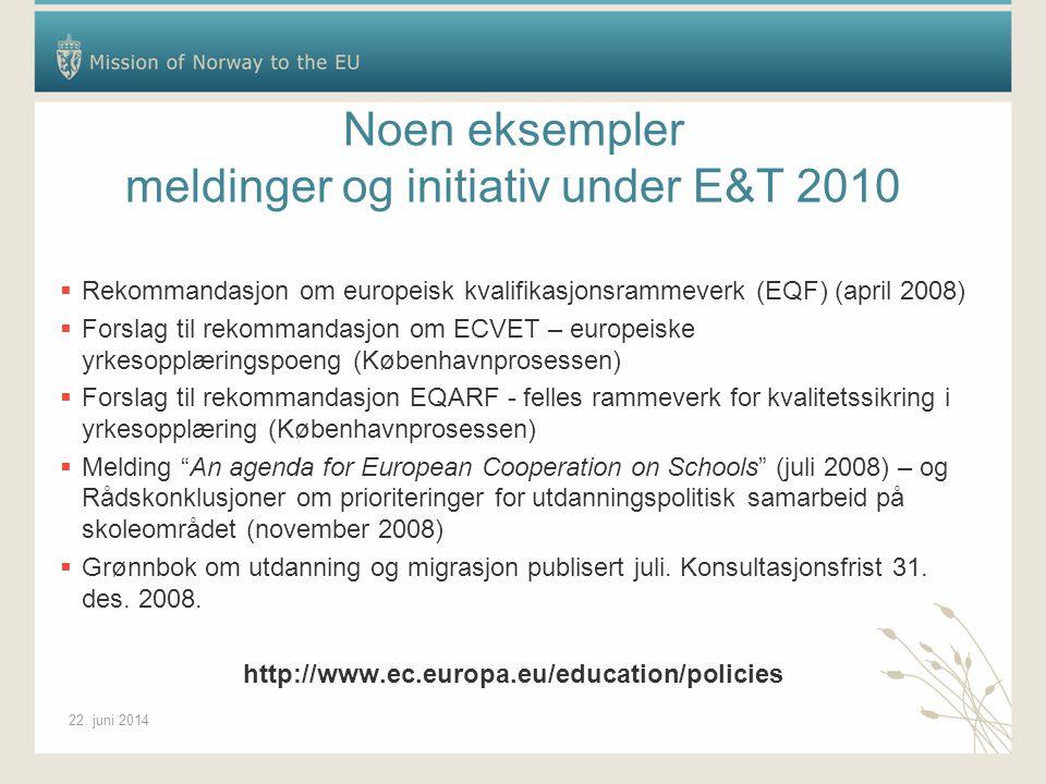 22. juni 2014 Noen eksempler meldinger og initiativ under E&T 2010  Rekommandasjon om europeisk kvalifikasjonsrammeverk (EQF) (april 2008)  Forslag