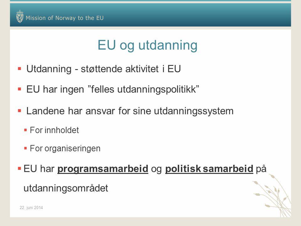"""22. juni 2014 EU og utdanning  Utdanning - støttende aktivitet i EU  EU har ingen """"felles utdanningspolitikk""""  Landene har ansvar for sine utdannin"""