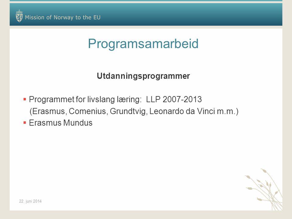 22. juni 2014 Programsamarbeid Utdanningsprogrammer  Programmet for livslang læring: LLP 2007-2013 (Erasmus, Comenius, Grundtvig, Leonardo da Vinci m