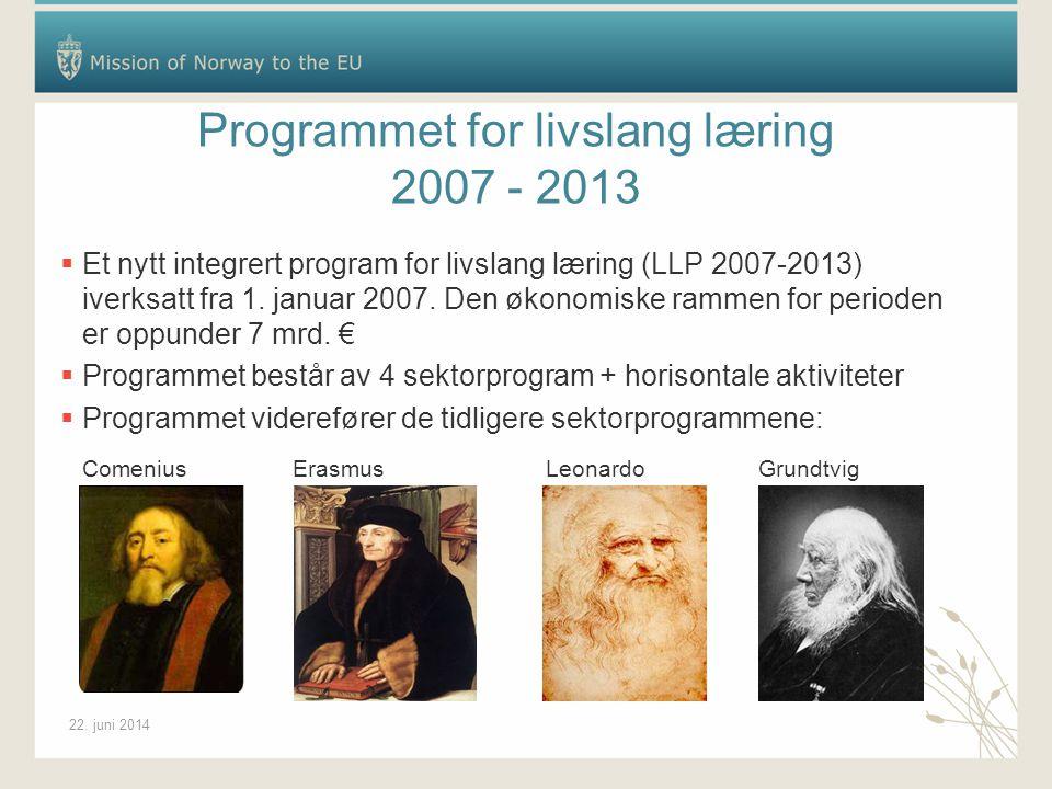 22. juni 2014 Programmet for livslang læring 2007 - 2013  Et nytt integrert program for livslang læring (LLP 2007-2013) iverksatt fra 1. januar 2007.