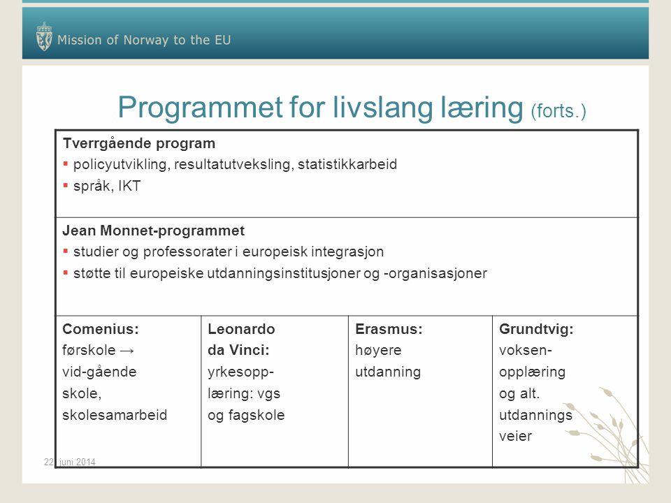 22. juni 2014 Programmet for livslang læring (forts.) Tverrgående program  policyutvikling, resultatutveksling, statistikkarbeid  språk, IKT Jean Mo