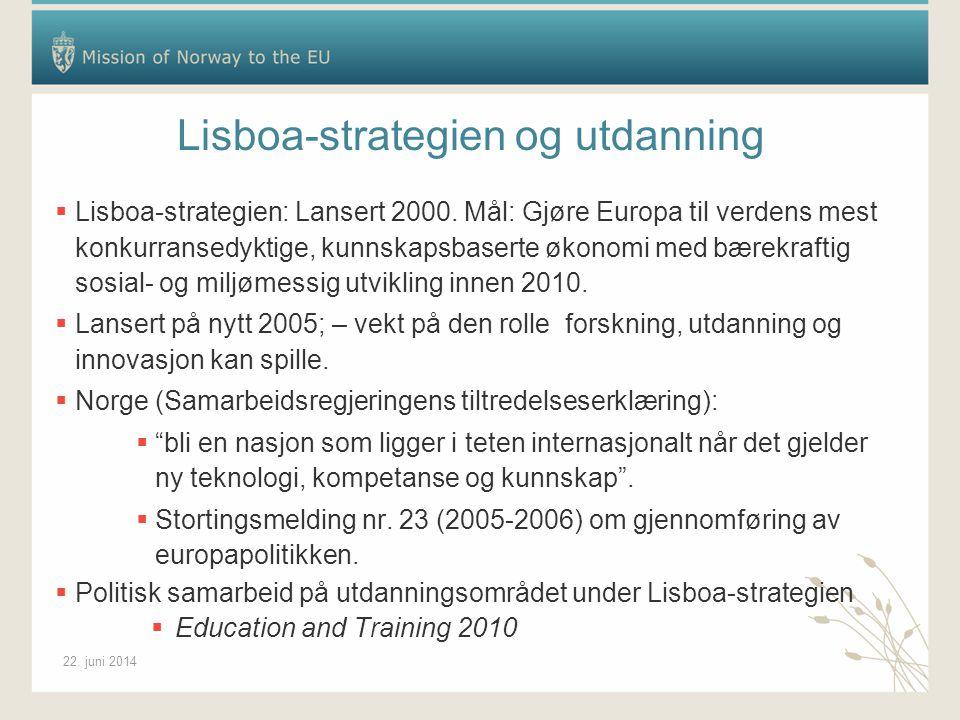 22. juni 2014 Lisboa-strategien og utdanning  Lisboa-strategien: Lansert 2000.