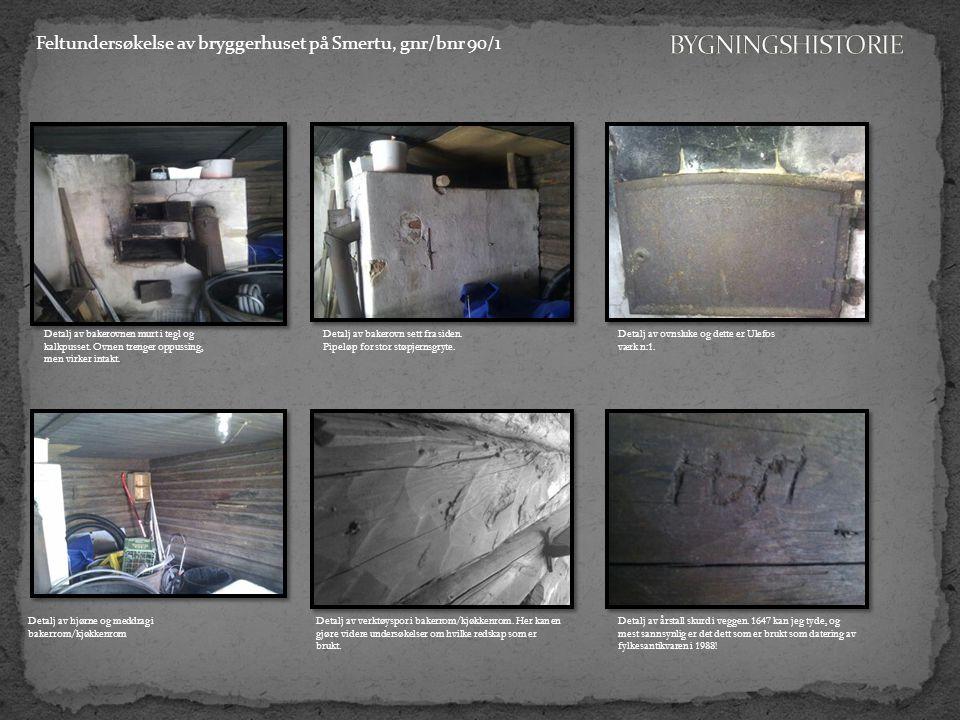Feltundersøkelse av bryggerhuset på Smertu, gnr/bnr 90/1 Detalj av hjørne og meddrag i bakerrom/kjøkkenrom Detalj av bakerovnen murt i tegl og kalkpusset.