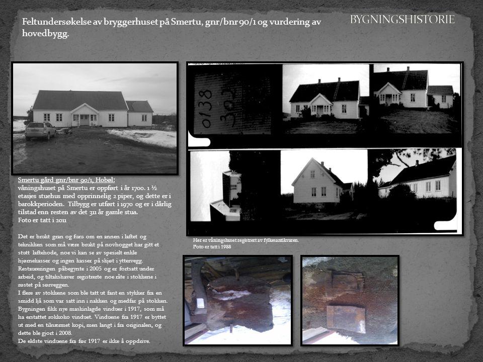 Feltundersøkelse av bryggerhuset på Smertu, gnr/bnr 90/1 og vurdering av hovedbygg.