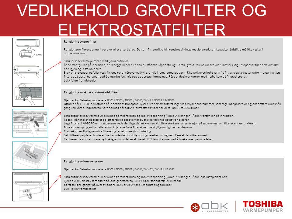 FILTERGUIDE IAQ-filter RB-A620DE, til RAS-seriene: N3KVP, N3KV2, SKVP2, SKV2, SKV, UFV, GKV, NKV, UKV og YKV Vedlikehold av IAQ-filter Filterservice 1-2 ganger i året, eller etter behov: Støvsug filteret godt Alternativt: Kan vaskes/skylles i rent vann.
