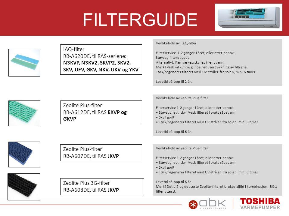 FILTERGUIDE IAQ-filter RB-A620DE, til RAS-seriene: N3KVP, N3KV2, SKVP2, SKV2, SKV, UFV, GKV, NKV, UKV og YKV Vedlikehold av IAQ-filter Filterservice 1