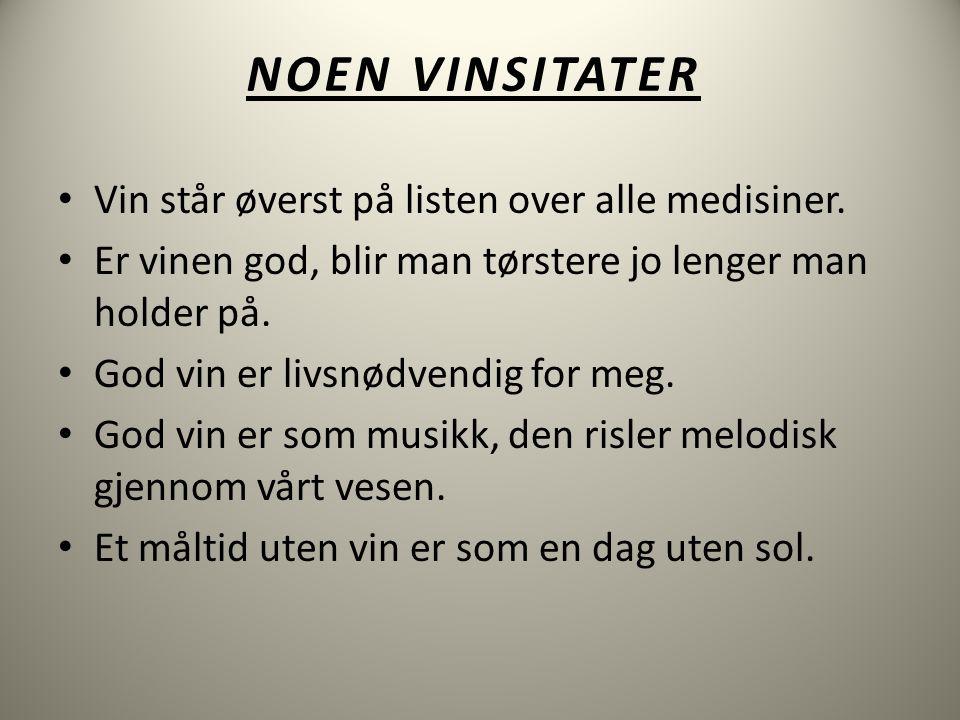 NOEN VINSITATER • Vin står øverst på listen over alle medisiner.