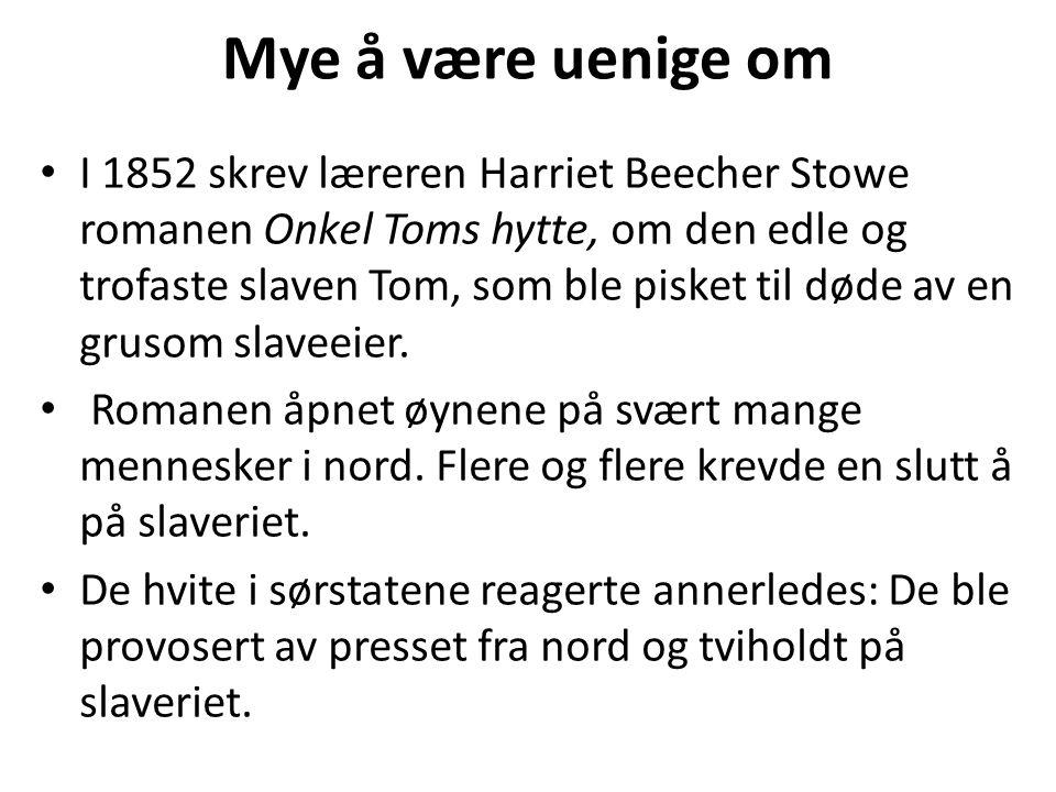 Mye å være uenige om • I 1852 skrev læreren Harriet Beecher Stowe romanen Onkel Toms hytte, om den edle og trofaste slaven Tom, som ble pisket til død
