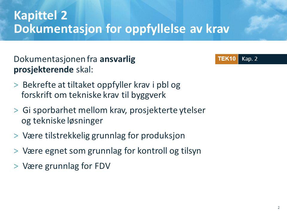 Kapittel 2 Dokumentasjon for oppfyllelse av krav Dokumentasjonen fra ansvarlig prosjekterende skal: >Bekrefte at tiltaket oppfyller krav i pbl og for