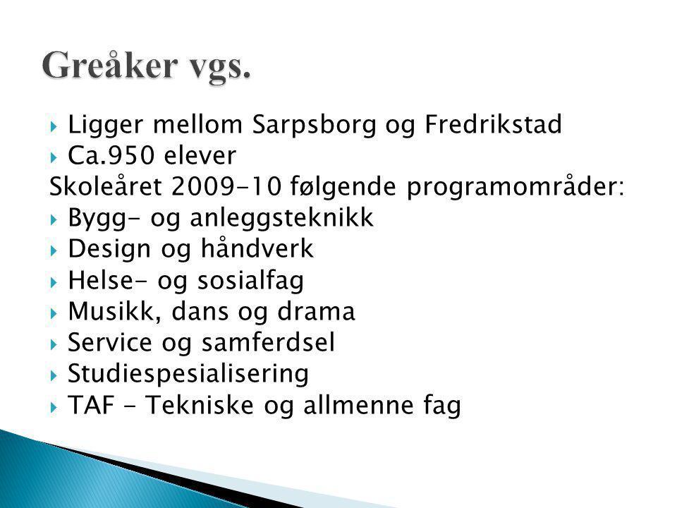  Ligger mellom Sarpsborg og Fredrikstad  Ca.950 elever Skoleåret 2009-10 følgende programområder:  Bygg- og anleggsteknikk  Design og håndverk  H
