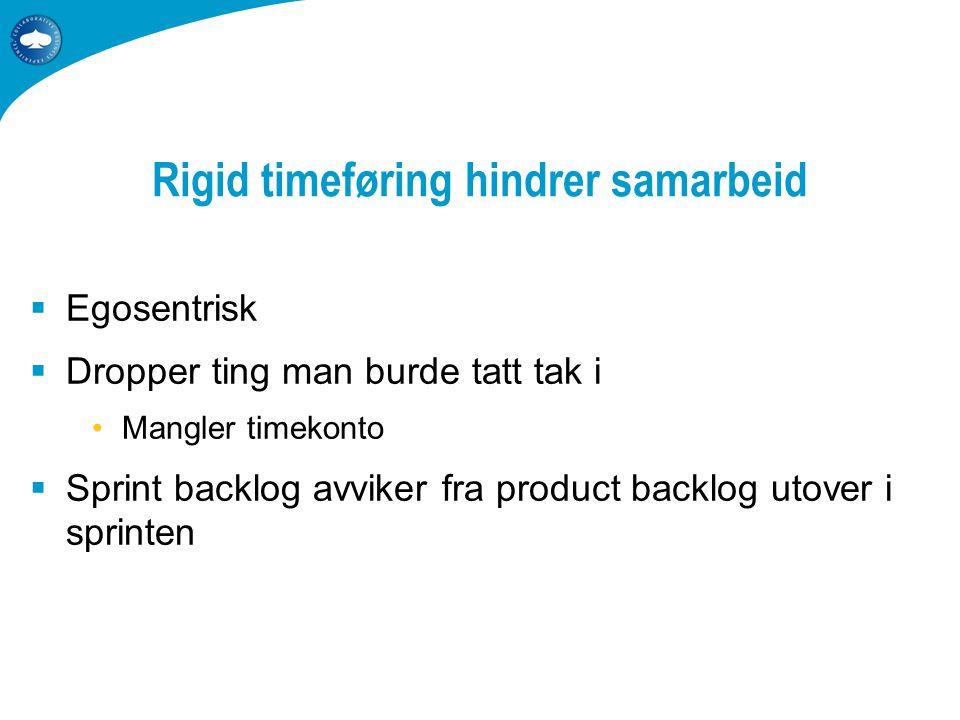 Rigid timeføring hindrer samarbeid  Egosentrisk  Dropper ting man burde tatt tak i •Mangler timekonto  Sprint backlog avviker fra product backlog utover i sprinten