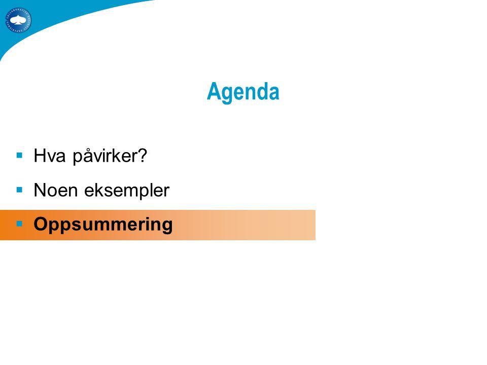  Hva påvirker  Noen eksempler  Oppsummering Agenda