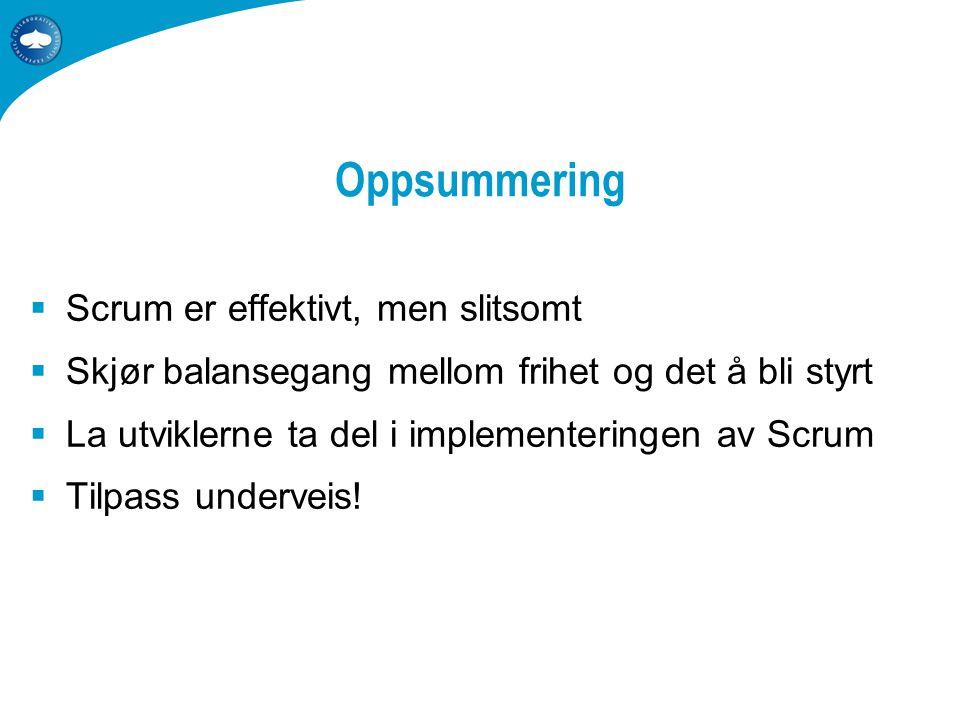Oppsummering  Scrum er effektivt, men slitsomt  Skjør balansegang mellom frihet og det å bli styrt  La utviklerne ta del i implementeringen av Scrum  Tilpass underveis!