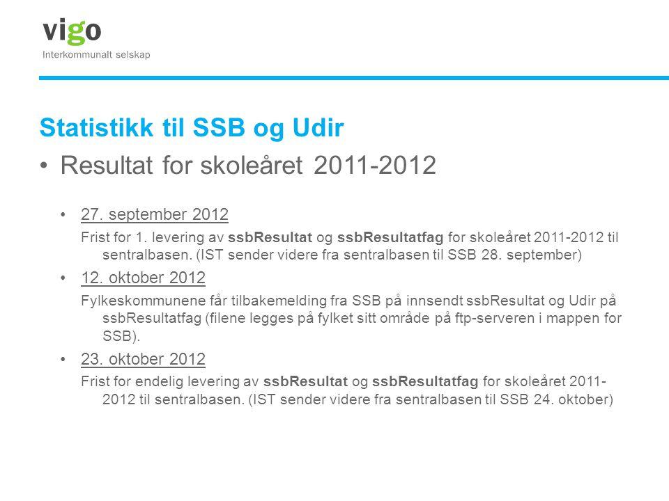 Statistikk til SSB og Udir •Resultat for skoleåret 2011-2012 •27. september 2012 Frist for 1. levering av ssbResultat og ssbResultatfag for skoleåret