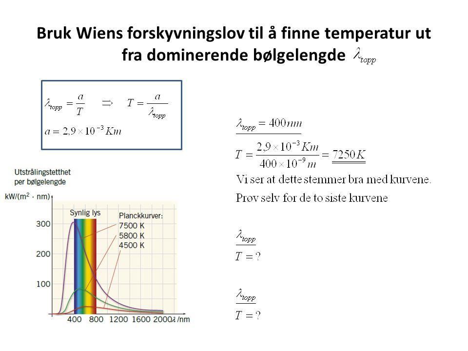 Bruk Wiens forskyvningslov til å finne temperatur ut fra dominerende bølgelengde