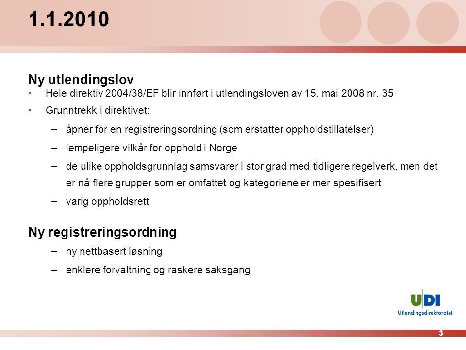 3 1.1.2010 Ny utlendingslov •Hele direktiv 2004/38/EF blir innført i utlendingsloven av 15. mai 2008 nr. 35 •Grunntrekk i direktivet: –åpner for en re