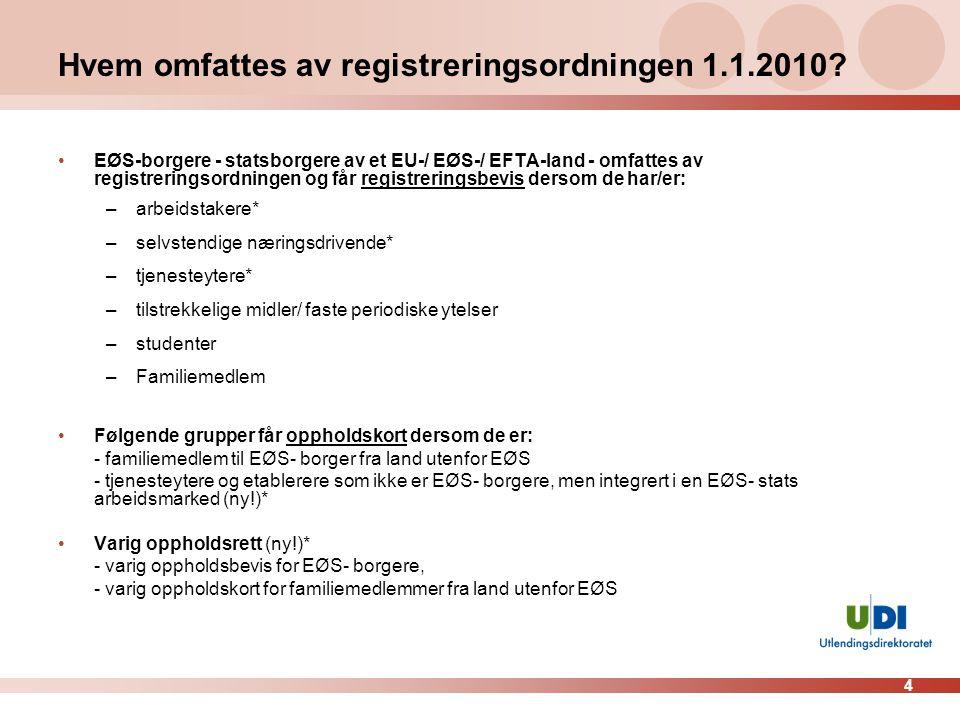 4 Hvem omfattes av registreringsordningen 1.1.2010? •EØS-borgere - statsborgere av et EU-/ EØS-/ EFTA-land - omfattes av registreringsordningen og får
