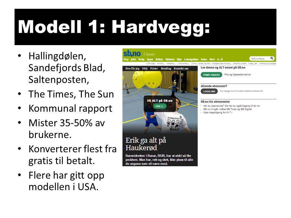 Modell 1: Hardvegg: • Hallingdølen, Sandefjords Blad, Saltenposten, • The Times, The Sun • Kommunal rapport • Mister 35-50% av brukerne. • Konverterer