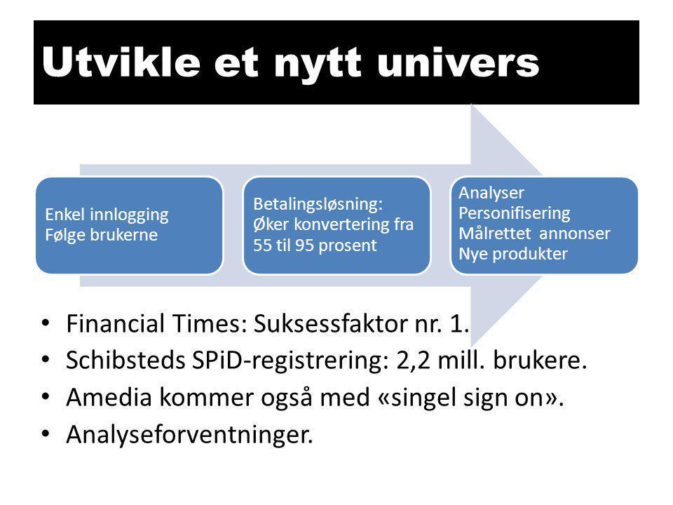 Utvikle et nytt univers • Financial Times: Suksessfaktor nr. 1. • Schibsteds SPiD-registrering: 2,2 mill. brukere. • Amedia kommer også med «singel si