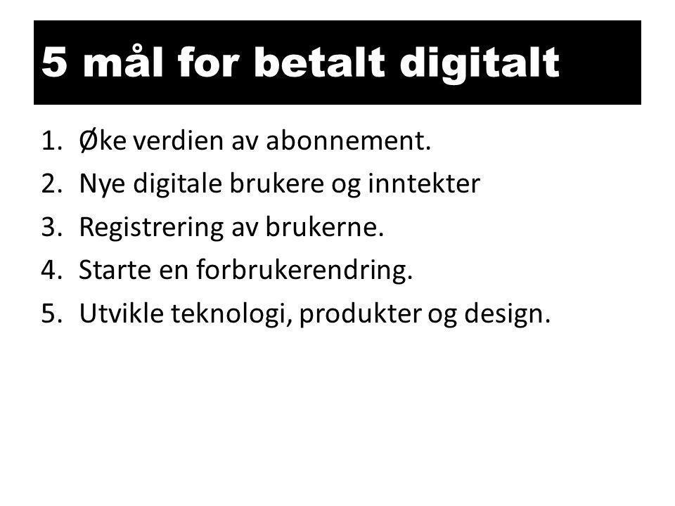 5 mål for betalt digitalt 1.Øke verdien av abonnement. 2.Nye digitale brukere og inntekter 3.Registrering av brukerne. 4.Starte en forbrukerendring. 5