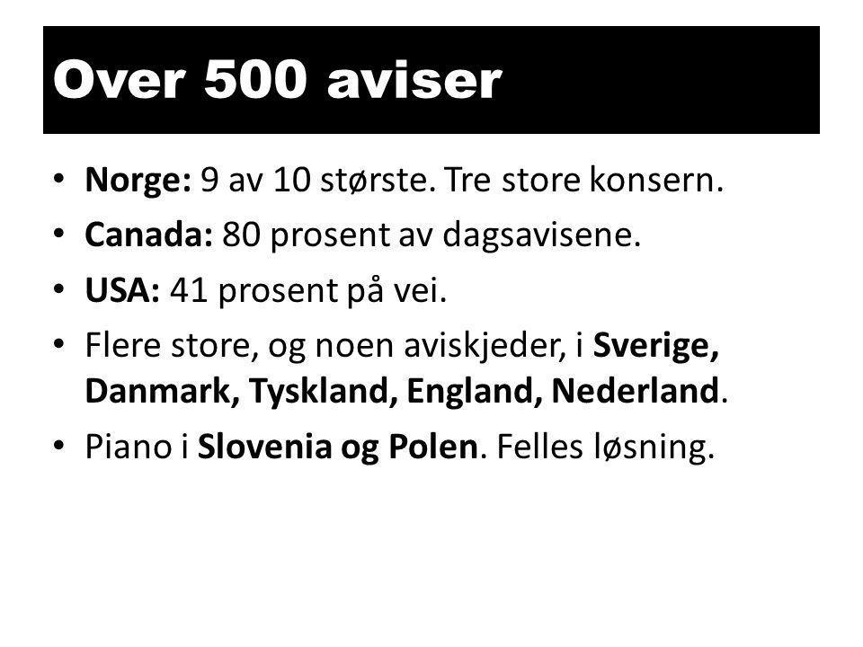 Over 500 aviser • Norge: 9 av 10 største.Tre store konsern.
