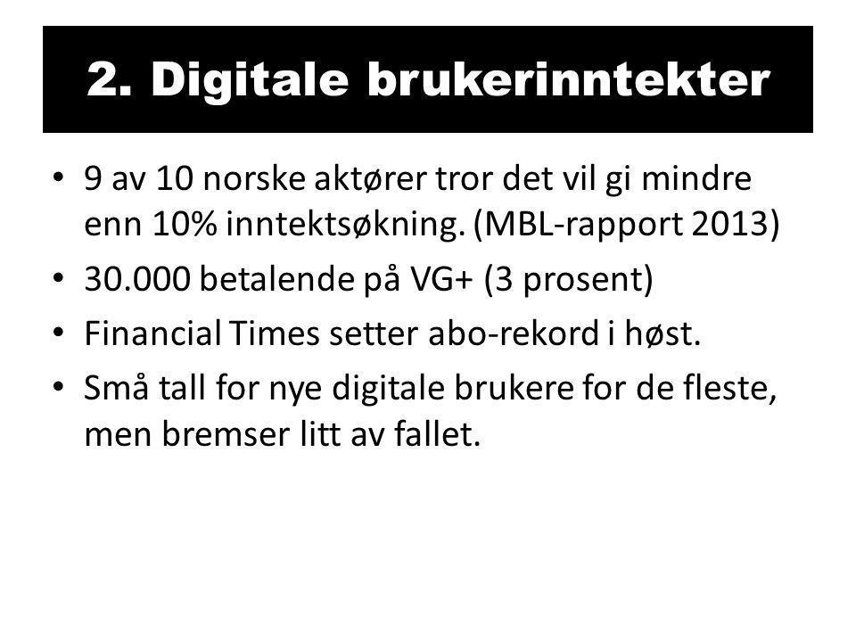 2. Digitale brukerinntekter • 9 av 10 norske aktører tror det vil gi mindre enn 10% inntektsøkning. (MBL-rapport 2013) • 30.000 betalende på VG+ (3 pr