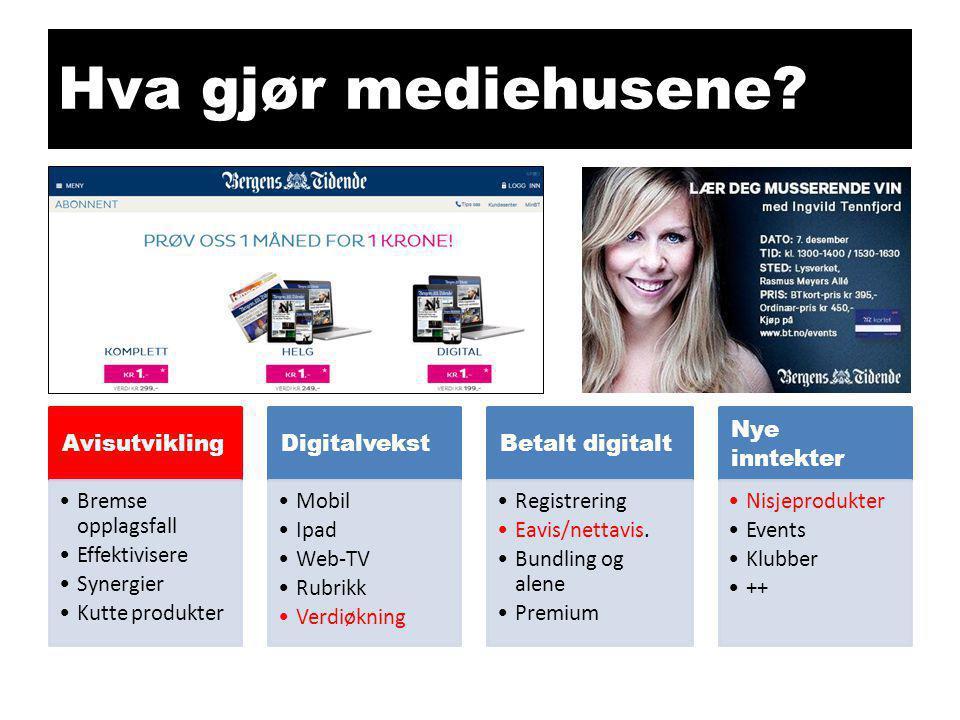 Hva gjør mediehusene? Avisutvikling •Bremse opplagsfall •Effektivisere •Synergier •Kutte produkter Digitalvekst •Mobil •Ipad •Web-TV •Rubrikk •Verdiøk