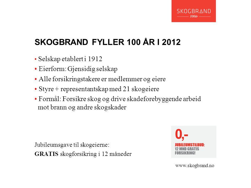 SKOGBRAND FYLLER 100 ÅR I 2012 • Selskap etablert i 1912 • Eierform: Gjensidig selskap • Alle forsikringstakere er medlemmer og eiere • Styre + repres
