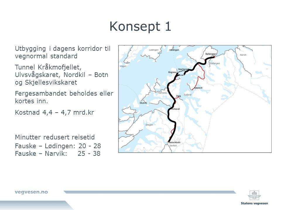 Konsept 1 Utbygging i dagens korridor til vegnormal standard Tunnel Kråkmofjellet, Ulvsvågskaret, Nordkil – Botn og Skjellesvikskaret Fergesambandet beholdes eller kortes inn.