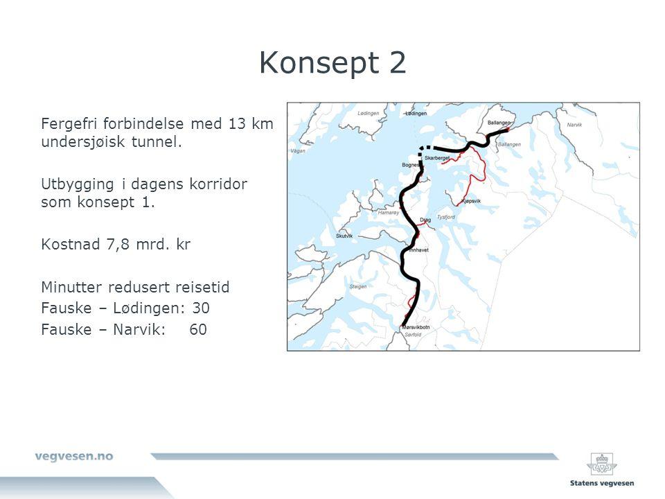 Konsept 2 Fergefri forbindelse med 13 km undersjøisk tunnel.
