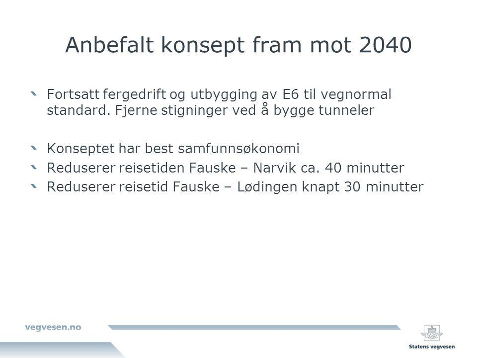 Anbefalt konsept fram mot 2040 Fortsatt fergedrift og utbygging av E6 til vegnormal standard.