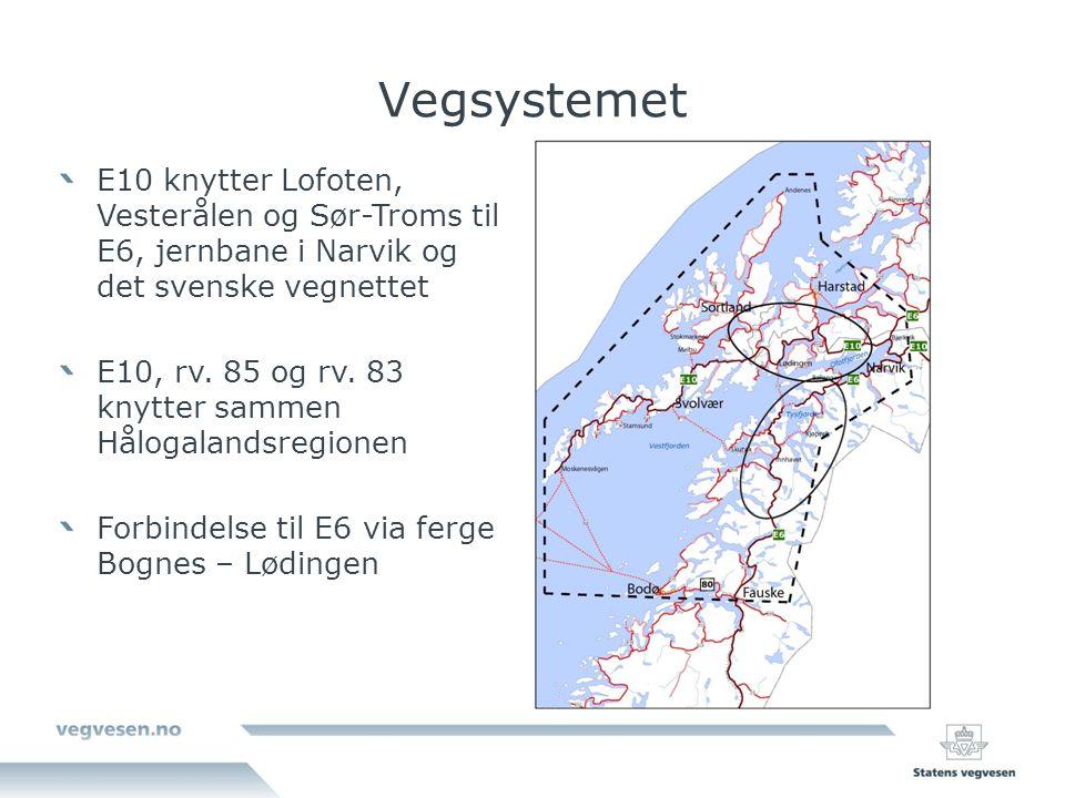Vegsystemet E10 knytter Lofoten, Vesterålen og Sør-Troms til E6, jernbane i Narvik og det svenske vegnettet E10, rv.
