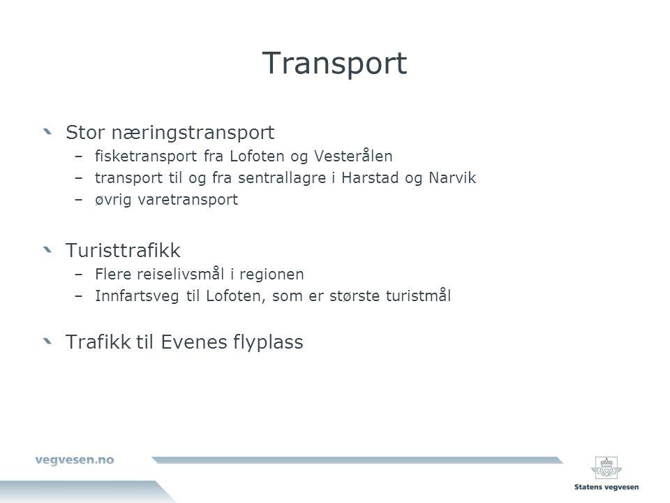 Transport Stor næringstransport –fisketransport fra Lofoten og Vesterålen –transport til og fra sentrallagre i Harstad og Narvik –øvrig varetransport Turisttrafikk –Flere reiselivsmål i regionen –Innfartsveg til Lofoten, som er største turistmål Trafikk til Evenes flyplass