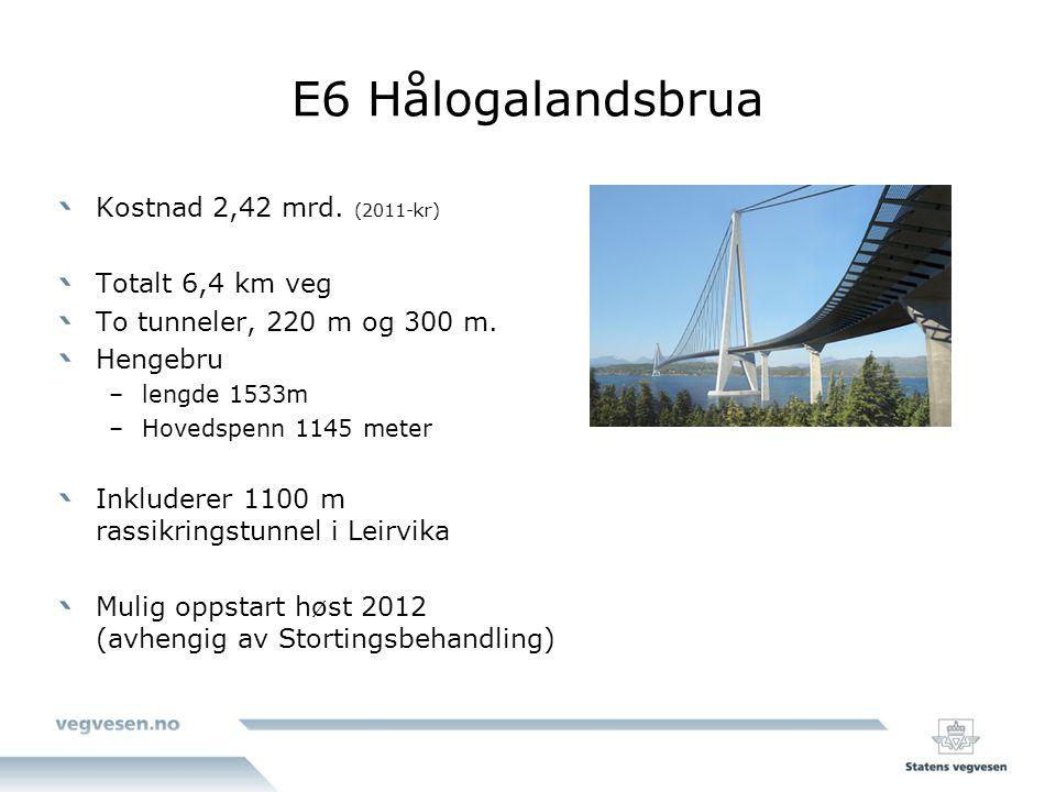 E6 Hålogalandsbrua Kostnad 2,42 mrd.(2011-kr) Totalt 6,4 km veg To tunneler, 220 m og 300 m.