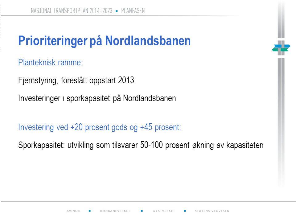 Prioriteringer på Nordlandsbanen Planteknisk ramme: Fjernstyring, foreslått oppstart 2013 Investeringer i sporkapasitet på Nordlandsbanen Investering ved +20 prosent gods og +45 prosent: Sporkapasitet: utvikling som tilsvarer 50-100 prosent økning av kapasiteten