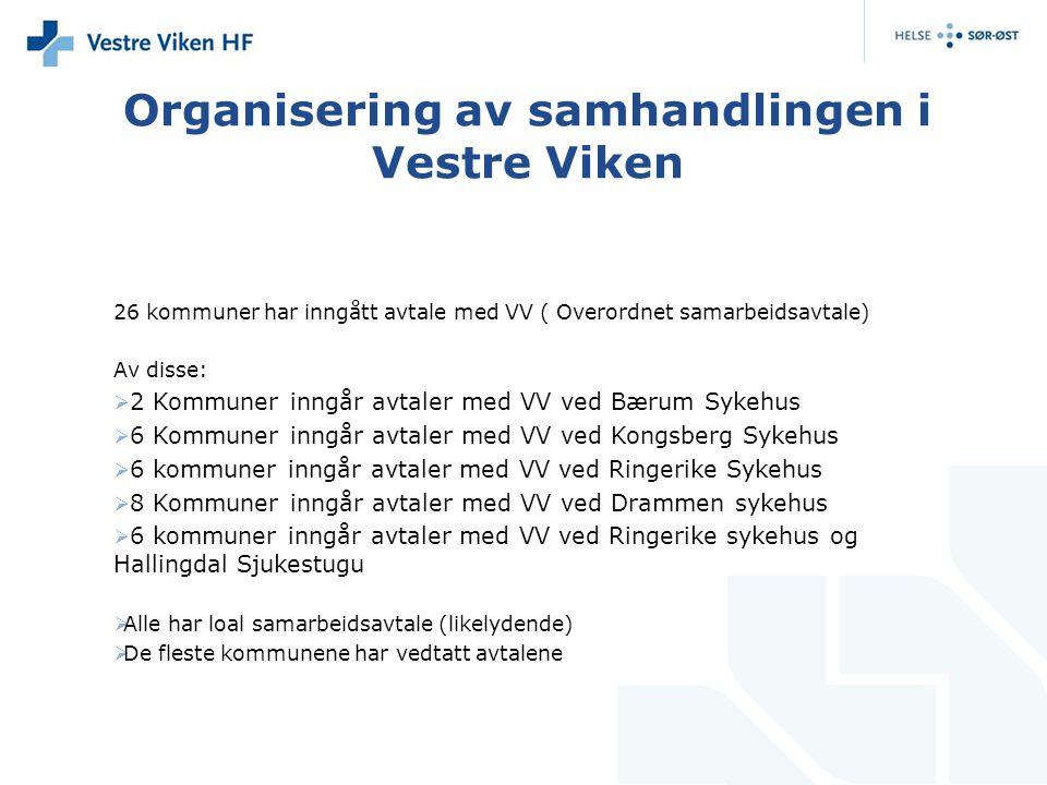 Organisering av samhandlingen i Vestre Viken 26 kommuner har inngått avtale med VV ( Overordnet samarbeidsavtale) Av disse:  2 Kommuner inngår avtale
