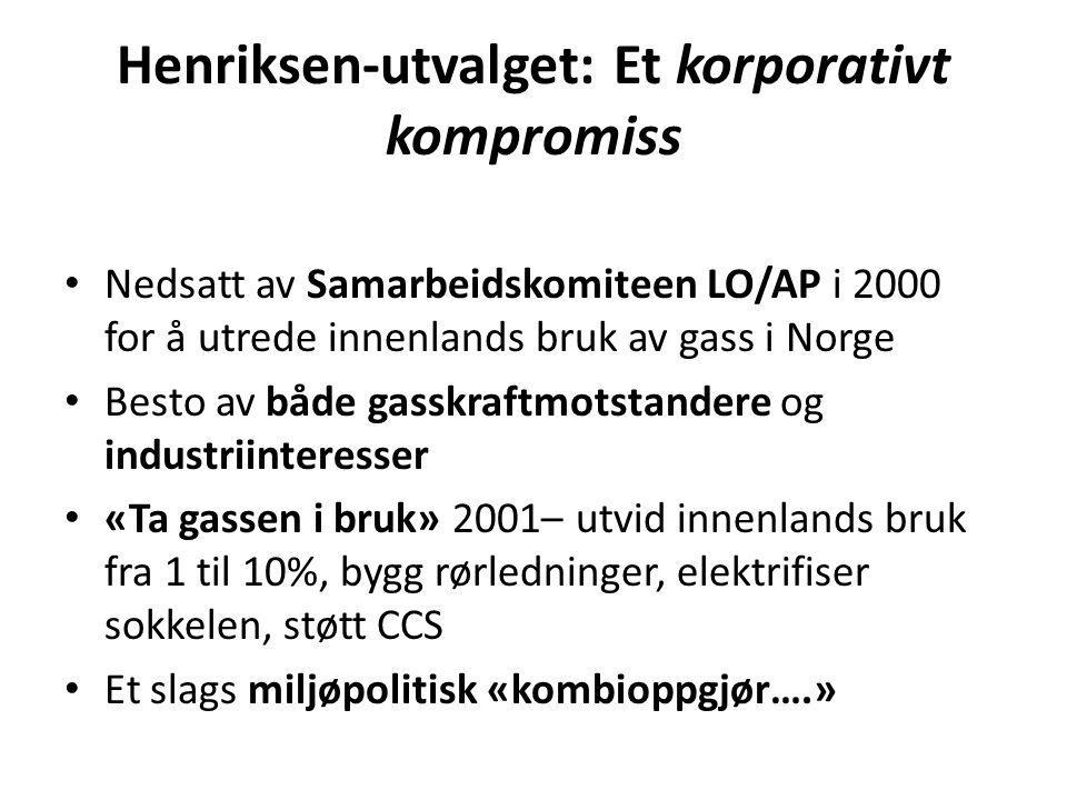 Henriksen-utvalget: Et korporativt kompromiss • Nedsatt av Samarbeidskomiteen LO/AP i 2000 for å utrede innenlands bruk av gass i Norge • Besto av båd