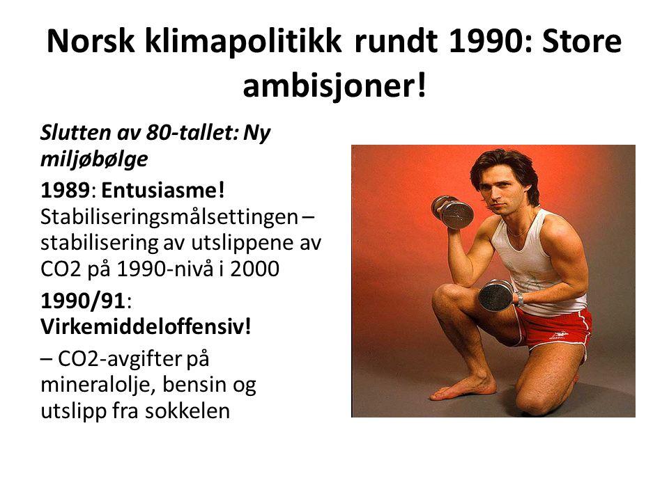 Norsk klimapolitikk rundt 1990: Store ambisjoner! Slutten av 80-tallet: Ny miljøbølge 1989: Entusiasme! Stabiliseringsmålsettingen – stabilisering av