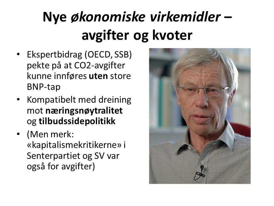 Nye økonomiske virkemidler – avgifter og kvoter • Ekspertbidrag (OECD, SSB) pekte på at CO2-avgifter kunne innføres uten store BNP-tap • Kompatibelt m