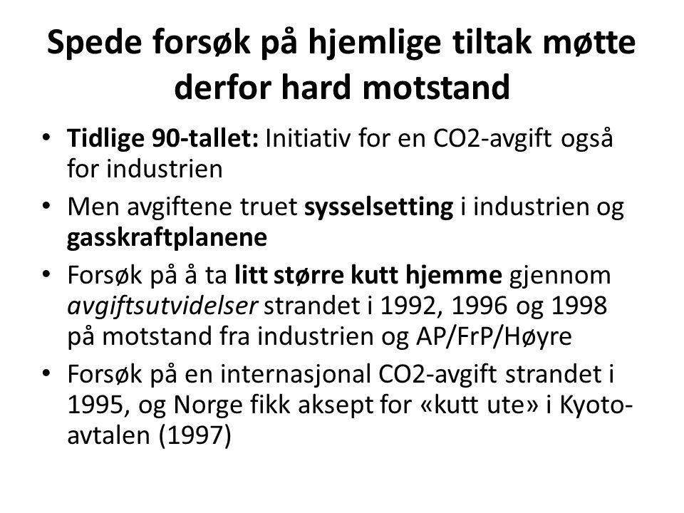 Spede forsøk på hjemlige tiltak møtte derfor hard motstand • Tidlige 90-tallet: Initiativ for en CO2-avgift også for industrien • Men avgiftene truet