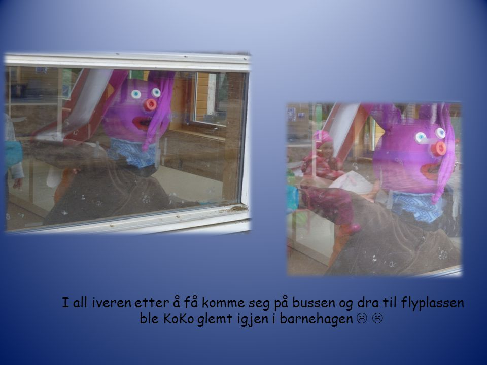 Emil og Nico forteller KoKo om turen til flyplassen. De har med seg bilder fra turen som støtte.