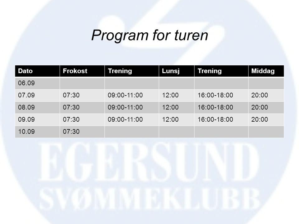 Program for turen DatoFrokostTreningLunsjTreningMiddag 06.09 07.0907:3009:00-11:0012:0016:00-18:0020:00 08.0907:3009:00-11:0012:0016:00-18:0020:00 09.