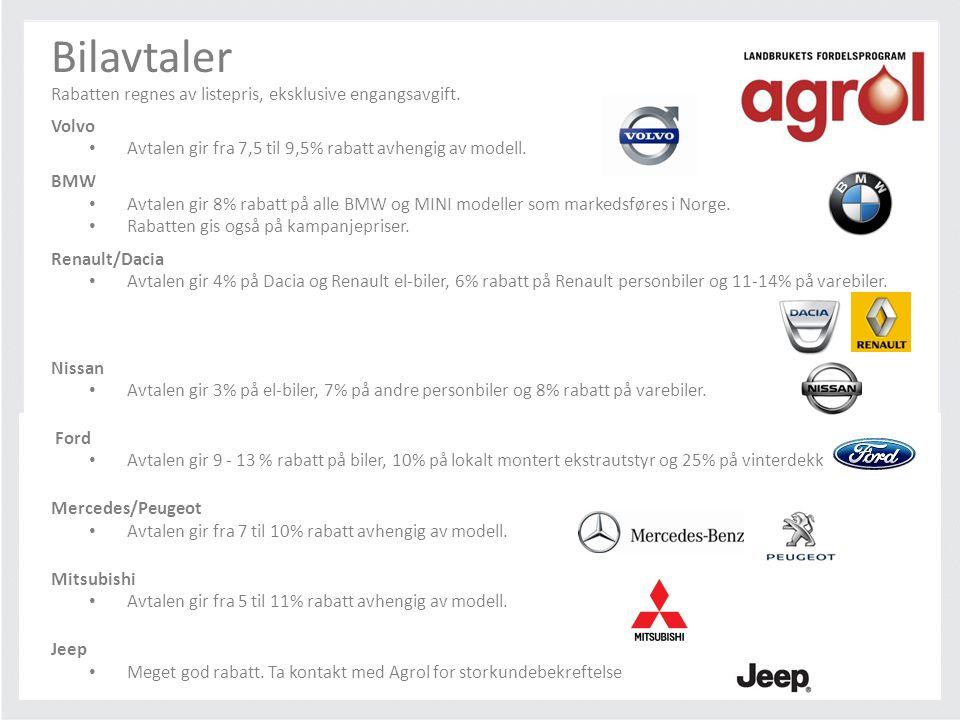 Bilavtaler Rabatten regnes av listepris, eksklusive engangsavgift. Volvo • Avtalen gir fra 7,5 til 9,5% rabatt avhengig av modell. BMW • Avtalen gir 8