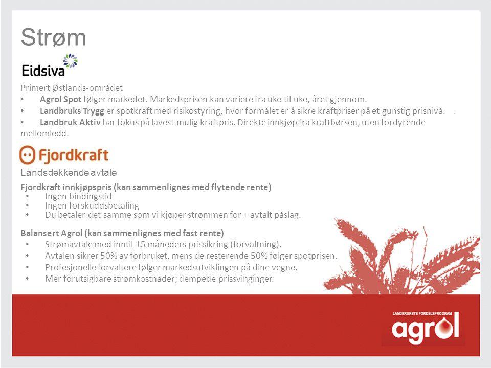 Strøm Primert Østlands-området • Agrol Spot følger markedet. Markedsprisen kan variere fra uke til uke, året gjennom. • Landbruks Trygg er spotkraft m