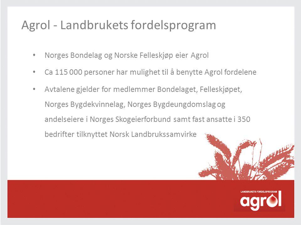 • Norges Bondelag og Norske Felleskjøp eier Agrol • Ca 115 000 personer har mulighet til å benytte Agrol fordelene • Avtalene gjelder for medlemmer Bo