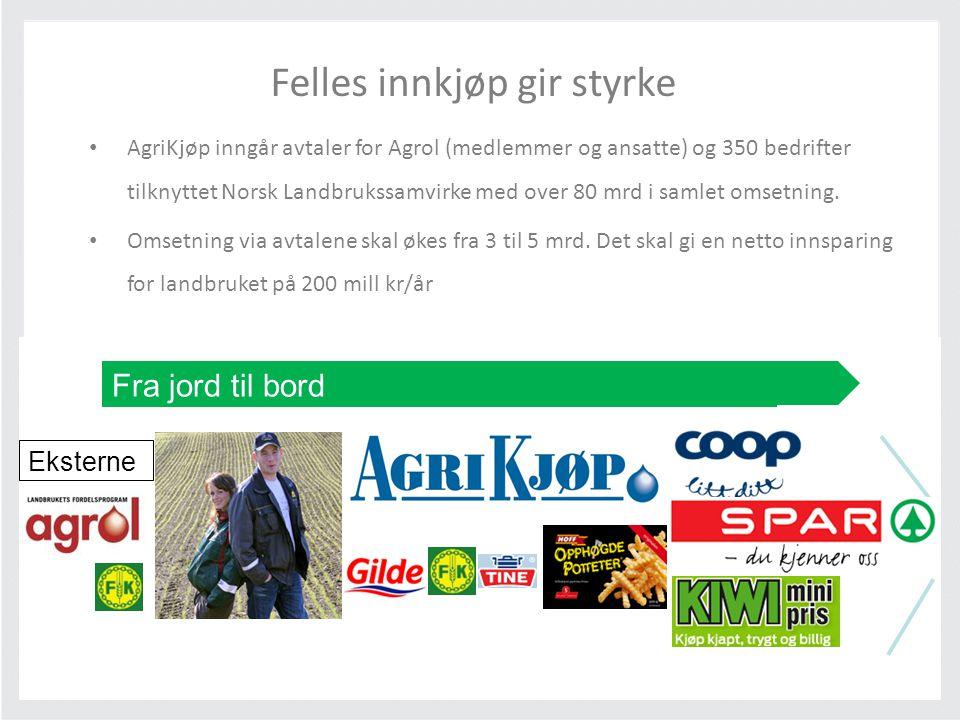 Fra jord til bord Eksterne Felles innkjøp gir styrke • AgriKjøp inngår avtaler for Agrol (medlemmer og ansatte) og 350 bedrifter tilknyttet Norsk Land